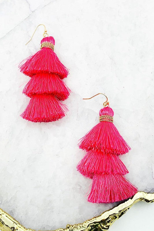 Tiered Tassel Statement Earrings