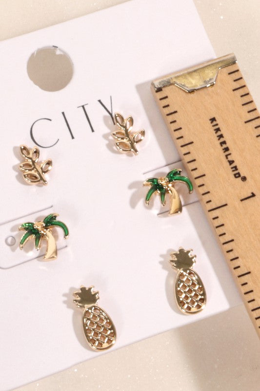 Pineapple and Palm Tree Stud Earrings