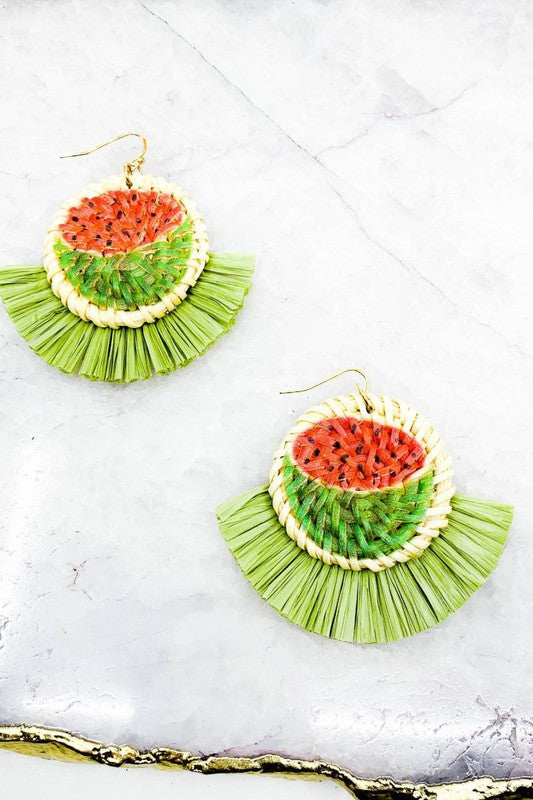 Fruit Raffia Wicker Tassel Earrings