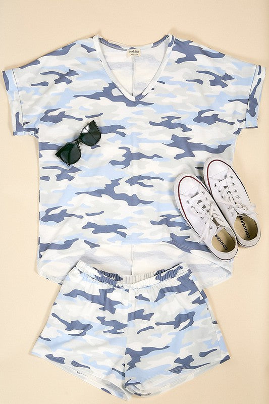Shades of Blue Camo Top