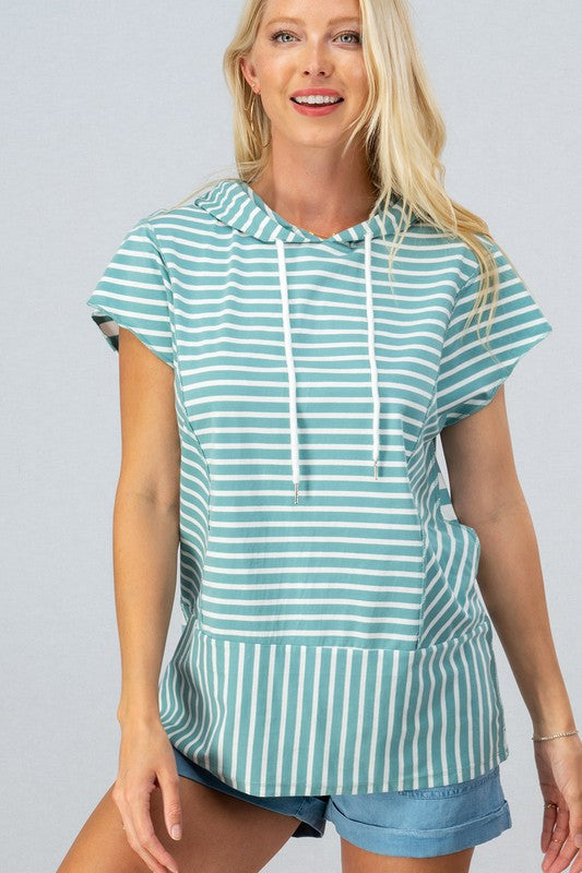 Cool Nights Striped Hoodie Top