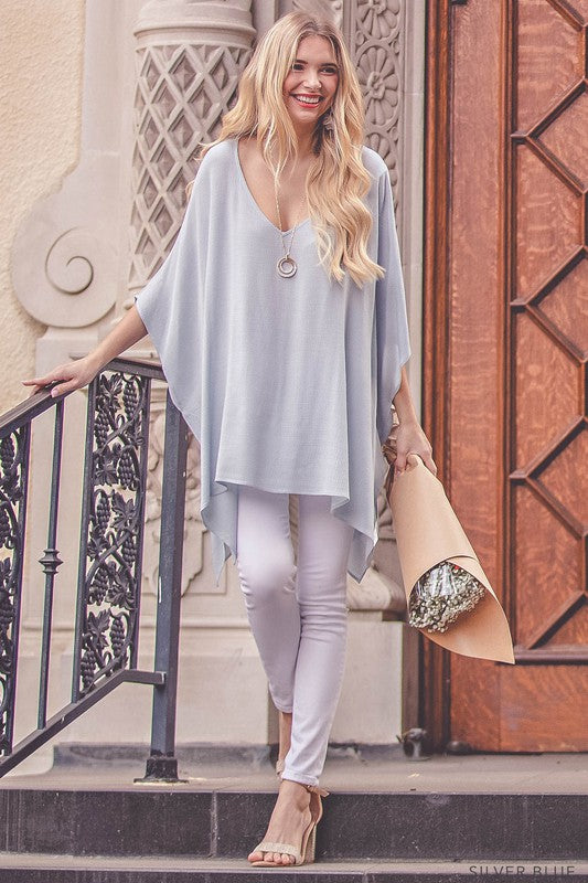 Sway With Me Silver Blue Tunic Top
