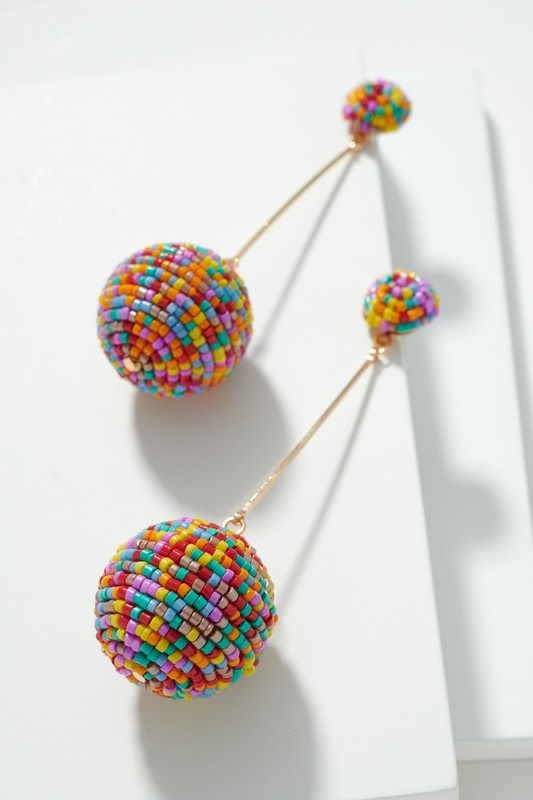 Multi Color Ball Drop Seed Bead Earrings