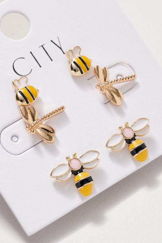 Bee and Dragonfly Stud Earrings