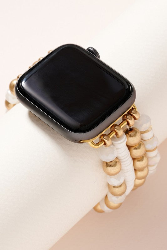 Multi Layered Glass and Brass Bead iWatch Stretch Band