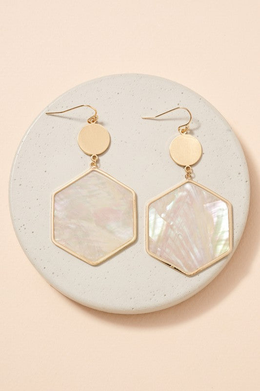 Hexagon Shaped Shell Earrings