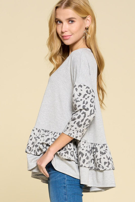 Spot On Grey Animal Print Swing Top