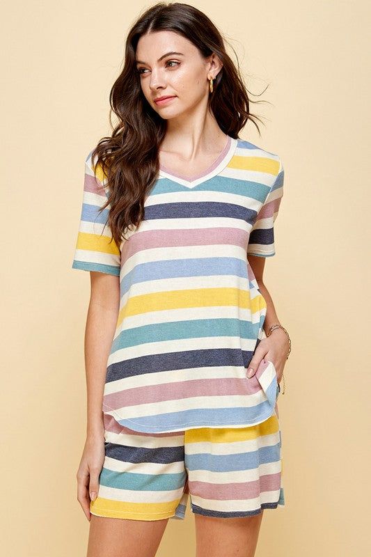 Sporty Stripe Loungewear Top and Shorts Set