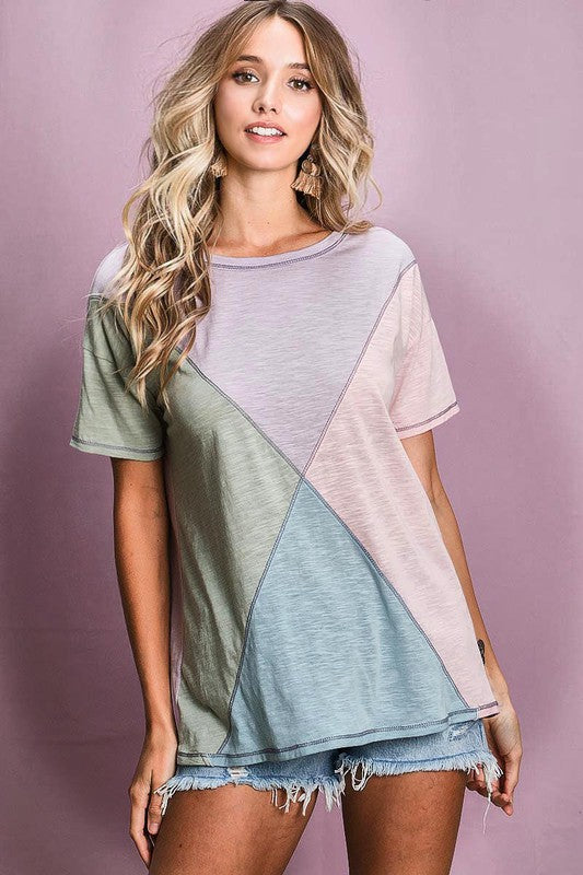 Pure Comfort Diamond Colorblock Top
