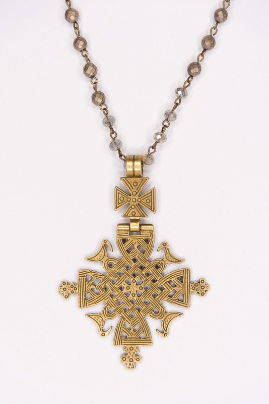 Gold Cross Pendant Beaded Necklace