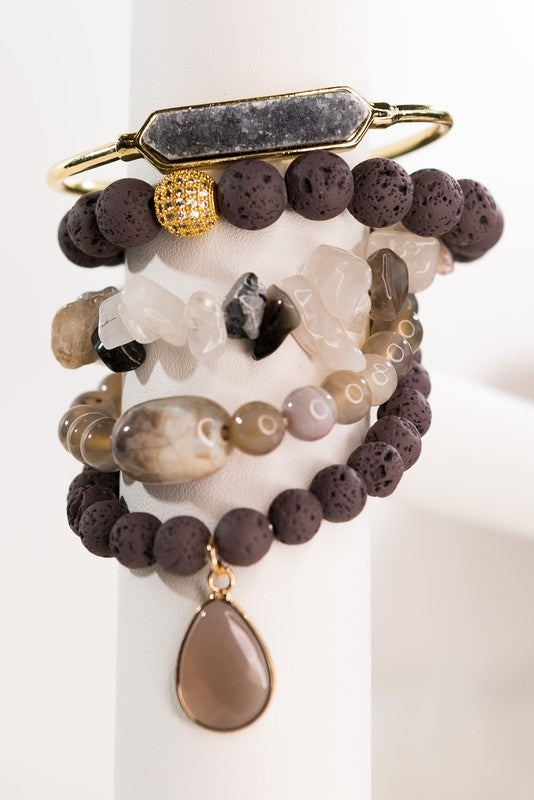 Lava Rock and Druzy Stone Beaded Stretch Bracelets
