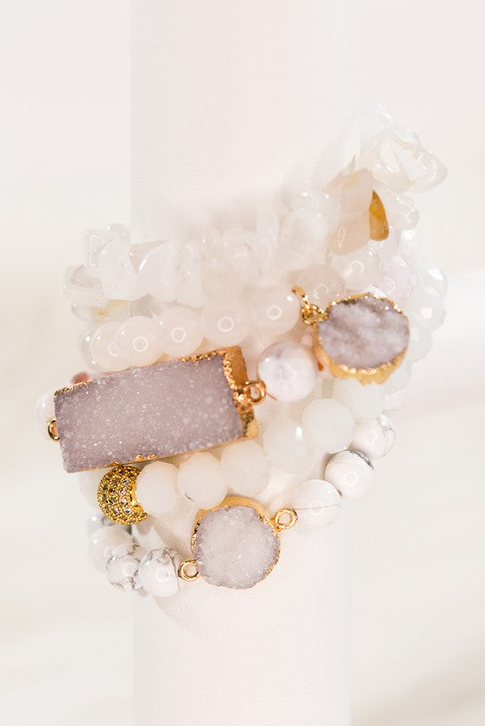 Natural Stone and Beaded Stretch Bracelets with Druzy Stones