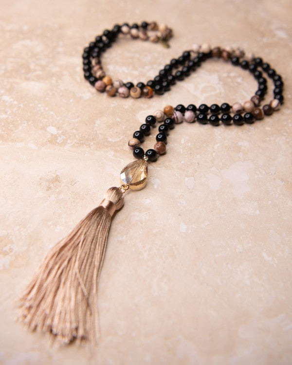 Long Sandstone Beaded Necklace