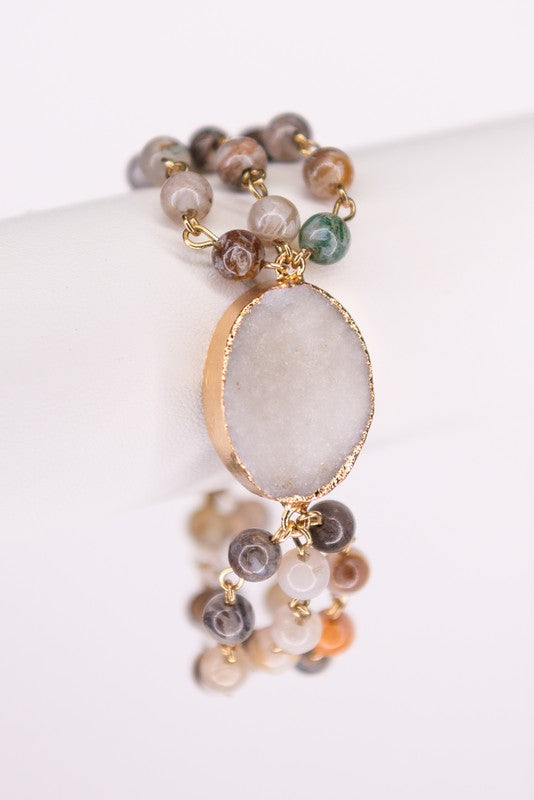 Multi-strand Stone Beaded Bracelet with Druzy Pendant