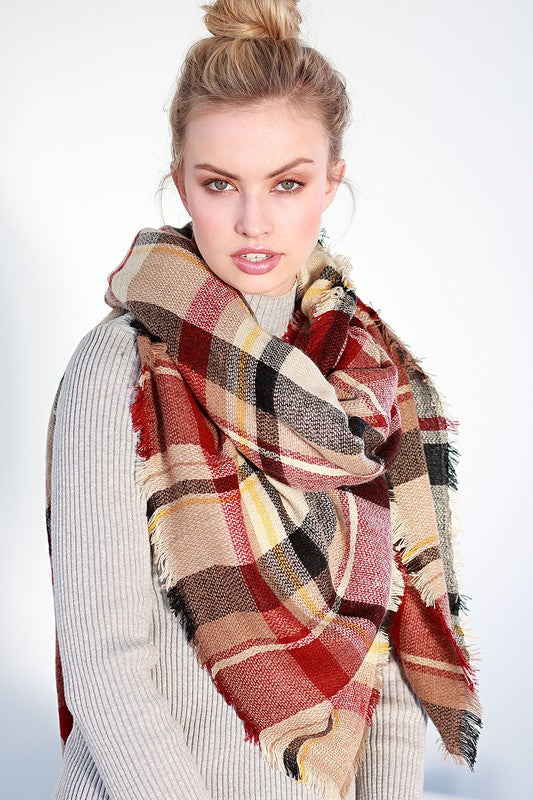 Camel/Burgundy Plaid Frayed Blanket Scarf