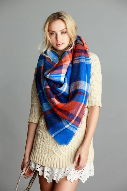 Blue/Orange Plaid Frayed Blanket Scarf