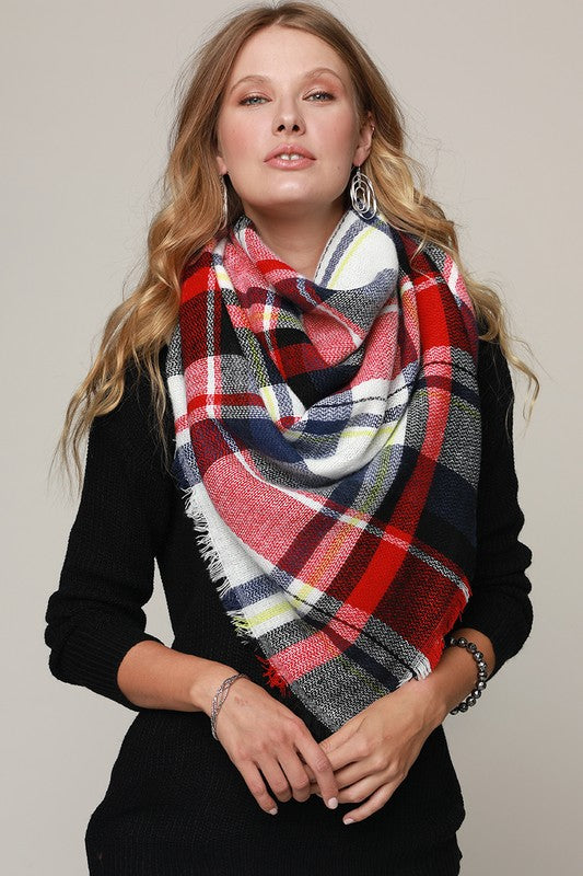 Red/Blue Plaid Frayed Blanket Scarf