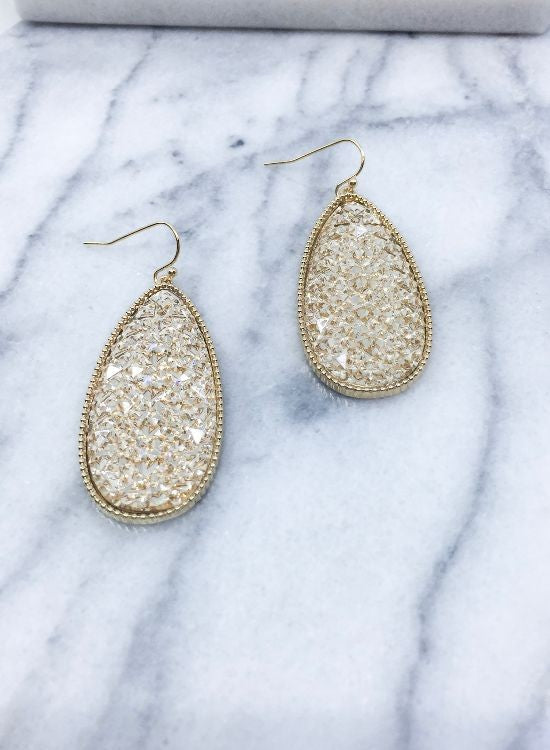 Sugar Bead Teardrop Earrings