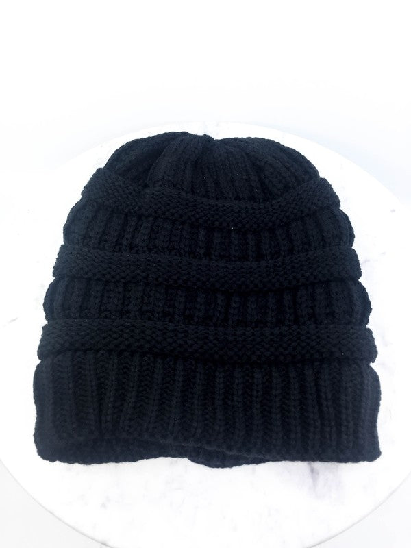 Faux Fur Lined Knit Beanie