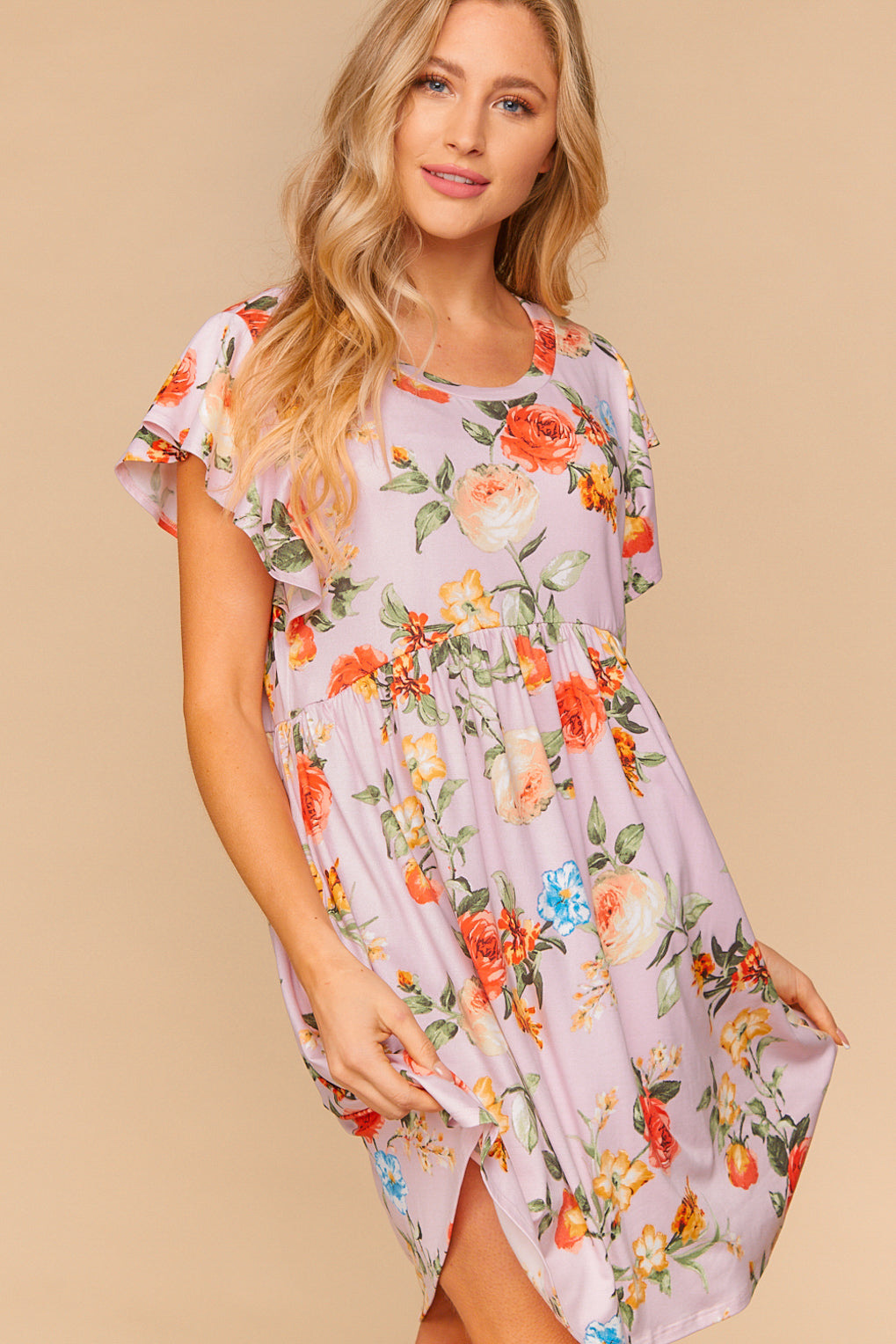 In Full Bloom Floral Babydoll Midi Dress