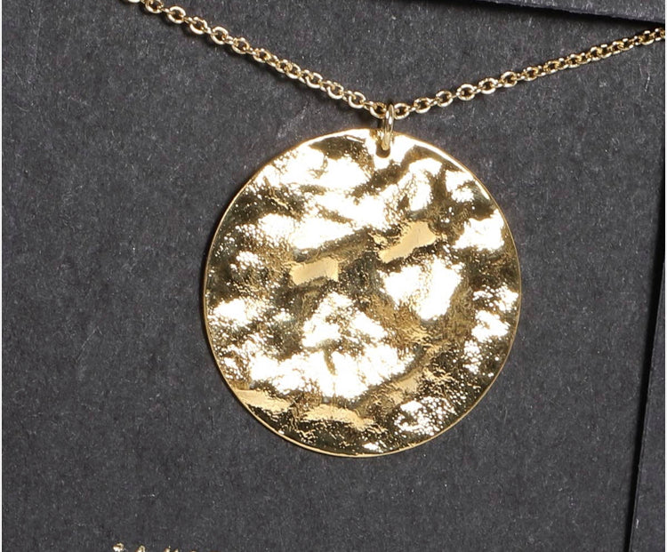 Gold Dipped Hammered Round Necklace