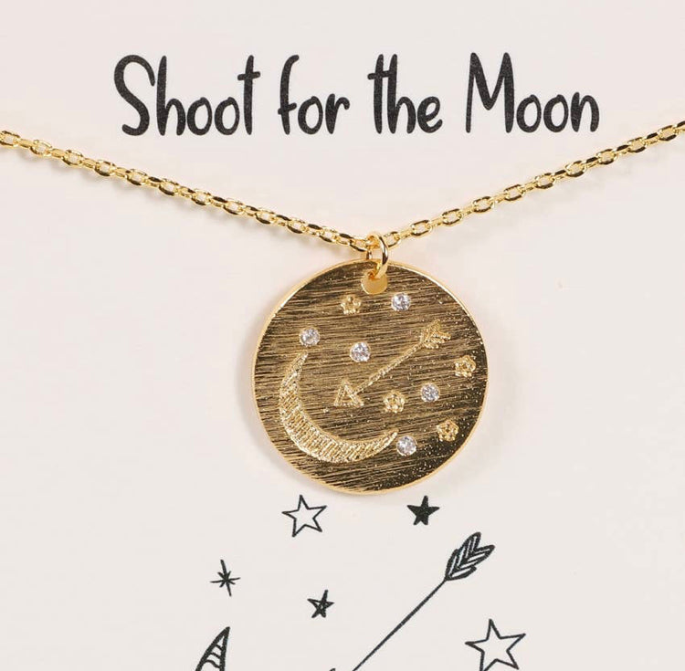 Moon Stars Arrow Disk Necklace