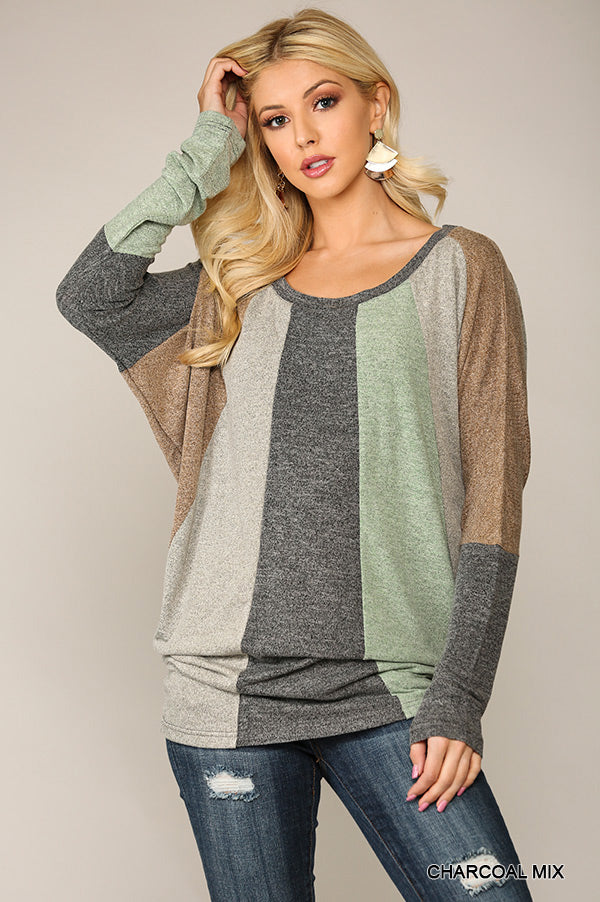 Casual And Natural Colorblock Top