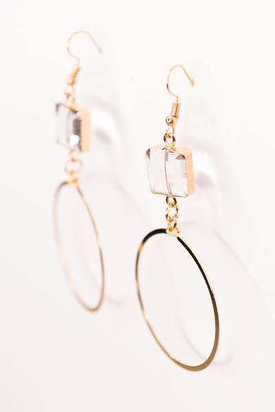 Fishhook Earrings with Circle and Crystal Charms