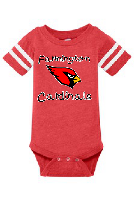 HEATHER RED ONESIE WITH FARMINGTON CARDINAL LOGO
