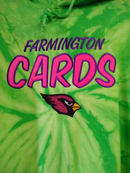 Farmington Tie Dyed Hoodie Neon Applique