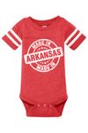 HEATHER RED ONESIE WITH MADE IN ARKANSAS LOGO