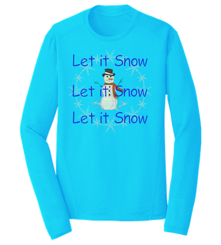 LONG SLEEVE EMBROIDERED SNOWMAN SHIRT