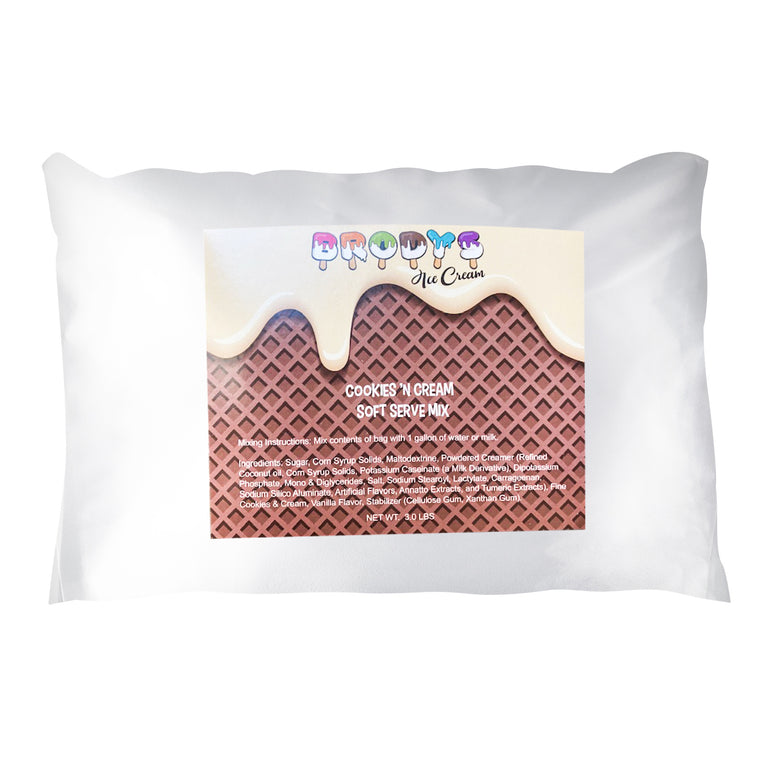 Soft Serve Mix, Cookies and Cream Ice Cream, 3 lb Bag - Brodys