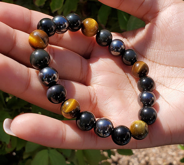 Unisex Wristband with Brown Tiger Eye, Hematite, & Black Obsidian