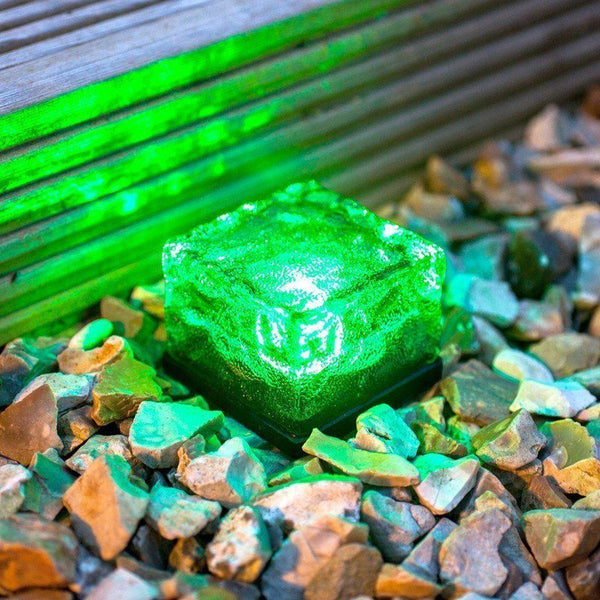 Solar-Powered Glass Brick Path Light