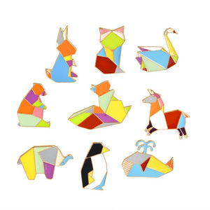 Broche animaux colorés - chat - lapin - ours - Lot de 9