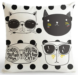 2019 Nouvelle collection housse coussin Mode Chat Rayé Points