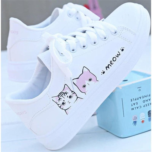 Chaussures Femmes blanches motif Chat baskets plates chaussures décontractées