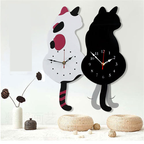Horloge murale Simple Design chat blanc ou noir