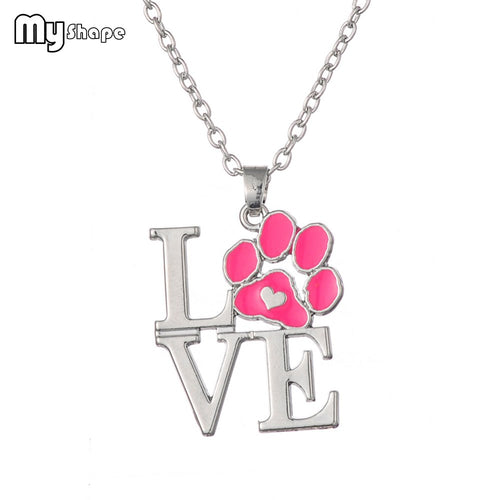 Collier patte de chien chat Rose