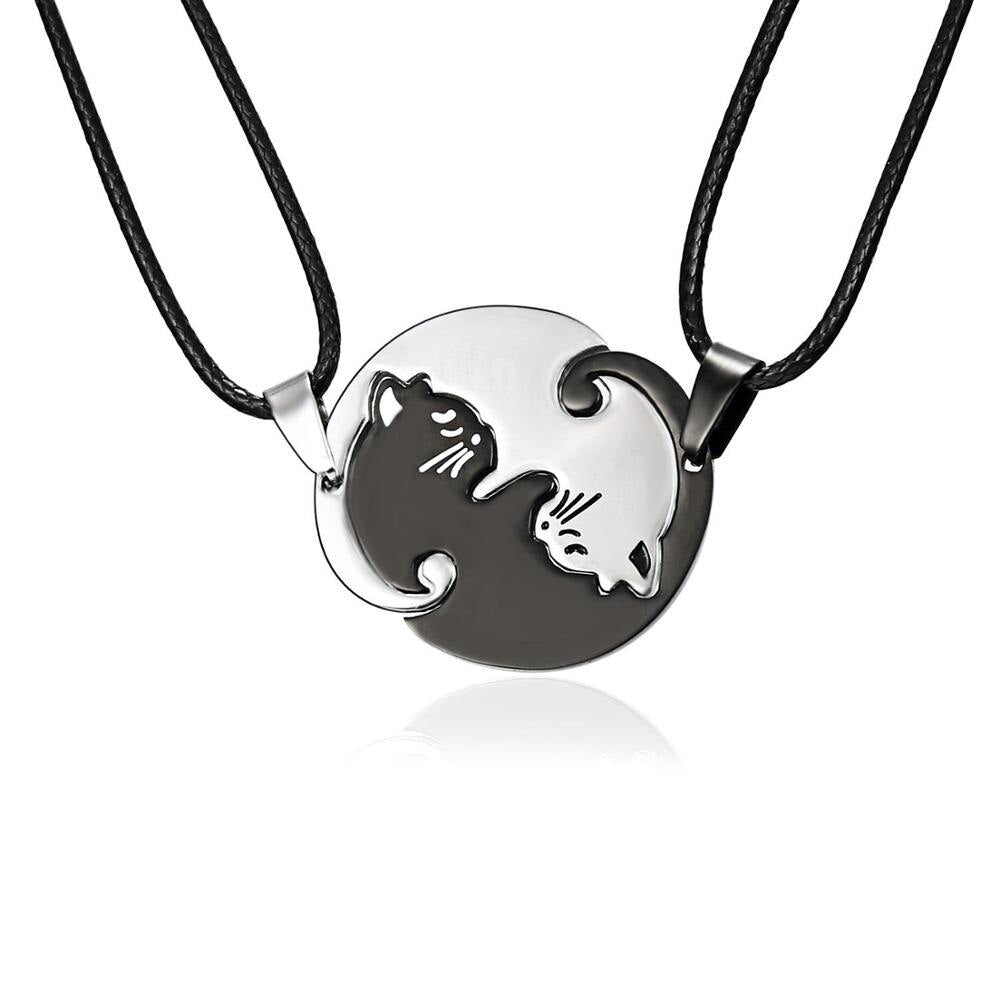 Double Collier noir et blanc chat ying yang
