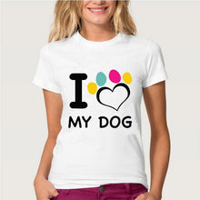 Charger l'image dans la galerie, T-shirt imprimé I LOVE MY CAT DOG CHAT CHIEN