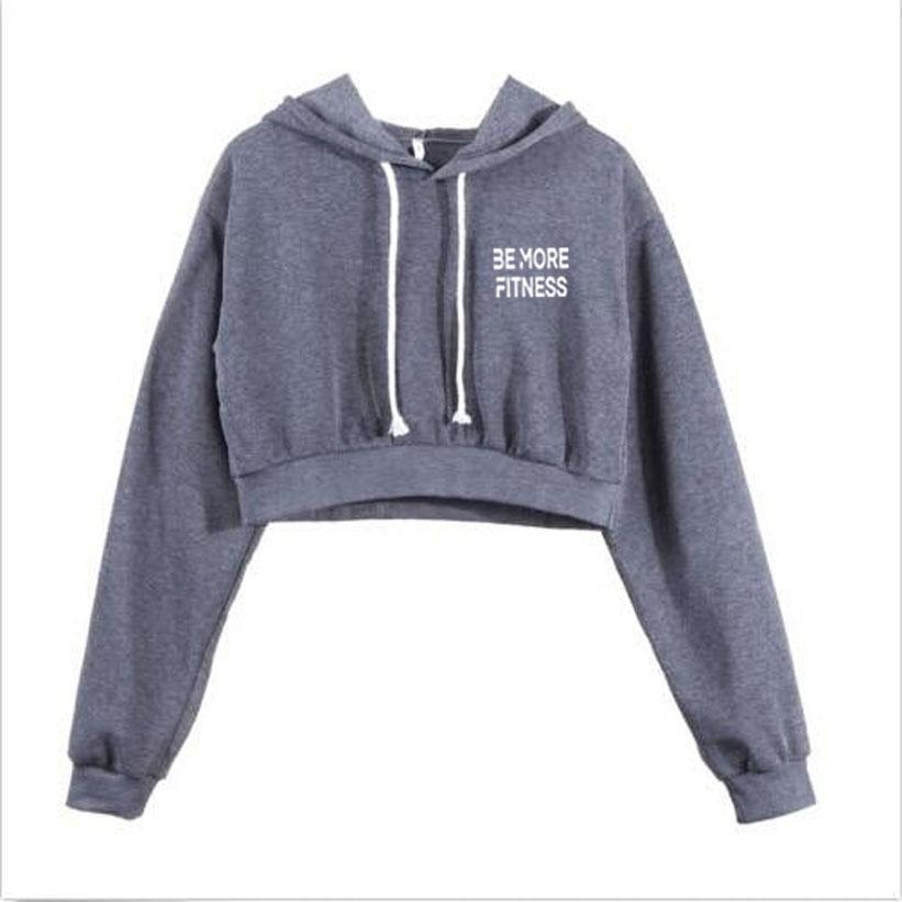 Crop Top Hoodie-hoodie-Be More Fitness® Ltd-Dark grey-S-Be More Fitness® Ltd