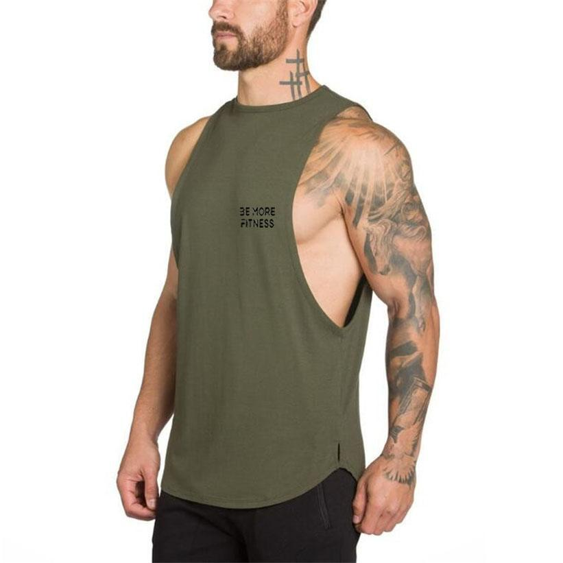 Cut Out Scoop Bottom-Tank Top-Be More Fitness® Ltd-Army Green-M-Be More Fitness® Ltd