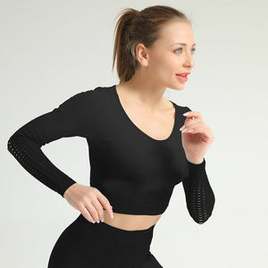Hollow Long Sleeve-Tops-Be More Fitness® Ltd-Black-M-Be More Fitness® Ltd