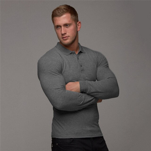 Polo Long Sleeve-Tops-Be More Fitness® Ltd-Dark Grey-L-Be More Fitness® Ltd