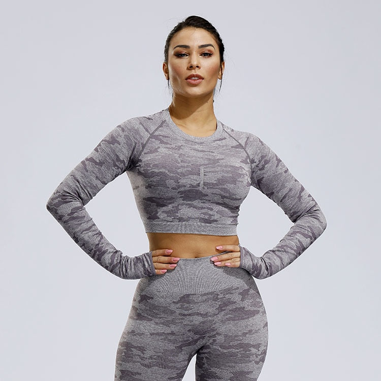 Camo Seamless Longsleeve-Tops-Be More Fitness® Ltd-Be More Fitness® Ltd