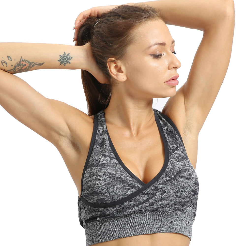 Camo Seamless Crop Top-Sports Bra-Be More Fitness® Ltd-Be More Fitness® Ltd