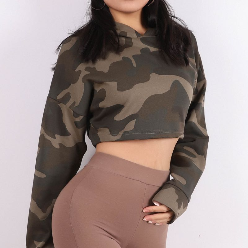 Camo Cropped Hoodie-hoodie-Be More Fitness® Ltd-XS-Be More Fitness® Ltd