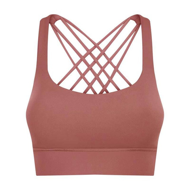 Breeze Cross Crop Bra-Sports Bra-Be More Fitness® Ltd-Wood Brown-S-Be More Fitness® Ltd